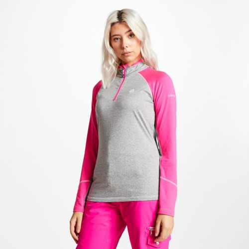 Women's Involved Core Stretch Half Zip Midlayer - Ash Grey Cyber Pink